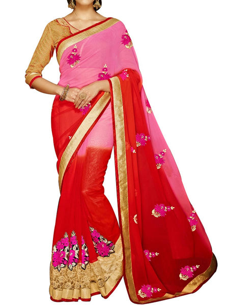 Red & Pink Jacquard  Saree With Golden Art Silk Blouse - PWBSAI24MA20