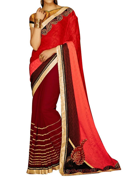 Red & Pink Jacquard  Saree With Multicolour Art Silk Blouse - PWBSAI24MA21