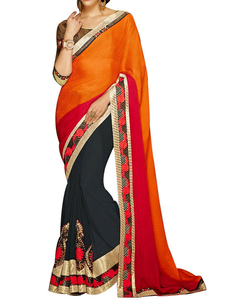 Red & Black Jacquard  Saree With Multicolour Art Silk Blouse - PWBSAI24MA24