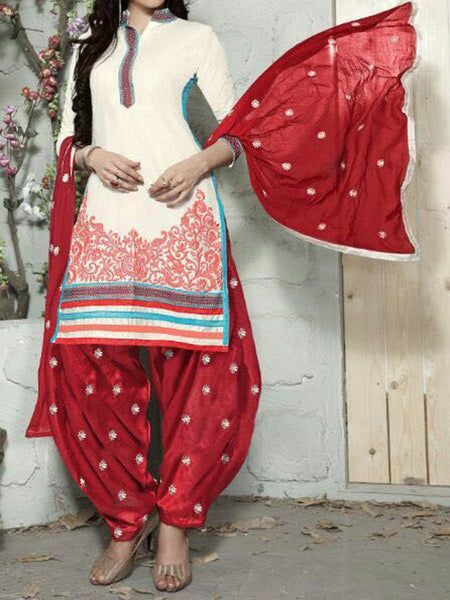 Embroidered Cotton Suit From Surat In White & Maroon - ST-PSSA30AG5