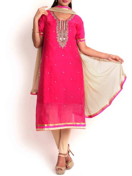 Pink & Beige Chanderi Cotton 3Pc Semi Stitched Suit - KPLUS14JL23