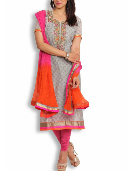 Grey Chanderi Suit With Zardozi Work - KPLUS14JL17
