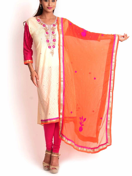 Beige & Orange Jacquard Cotton Semi-Stitched 3Pc Suit With Zardozi Work - KPLUS14JL16