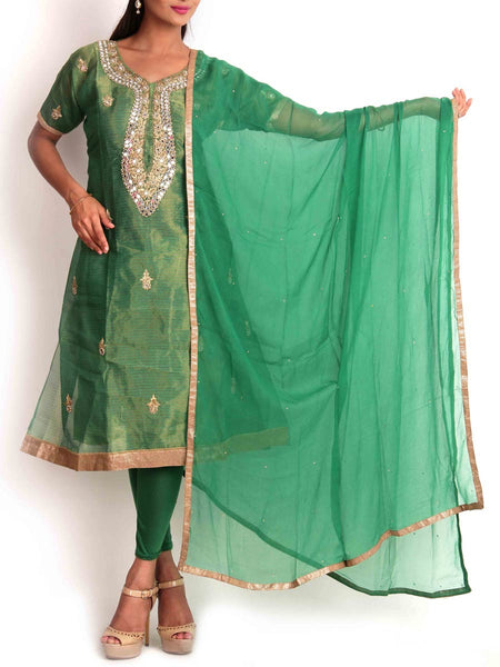 Green Tissue Semi-Stitched 3Pc Suit With Zardozi Work - KPLUS14JL15