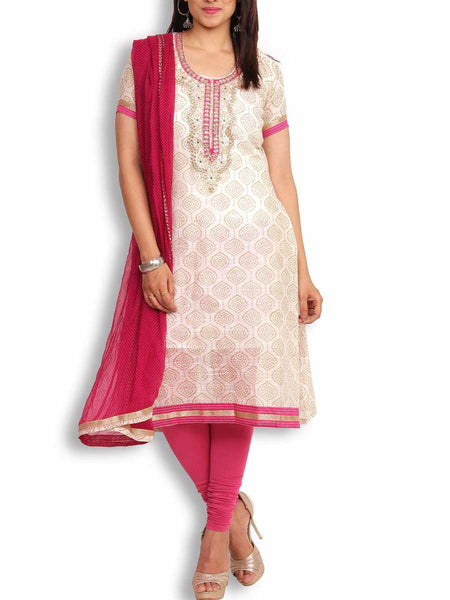 Beige & Pink Chanderi Cotton Semi-Stitched 3Pc Suit With Gota-Patti Work - KPLUS14JL11
