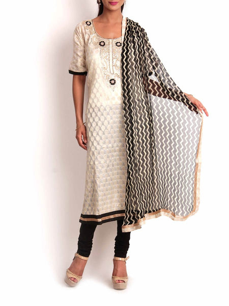 White & Black Chanderi Cotton Silk Semi-Stitched 3Pc Suit With Zardozi Work - KPLUS14JL19