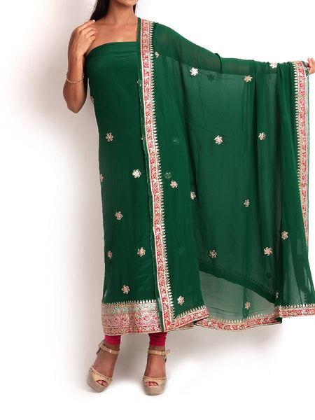 Green Crepe Suit With Gota - Patti Work- KPJRGPS19JN27