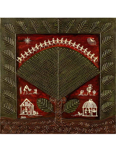 Acrylic on canvas Wood Green Leaf Warli Painting - K1-WMDP18FB54