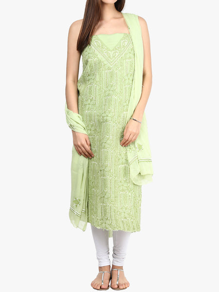 Light Green Cotton Suit From Lucknow - SL-PLSU7JY35