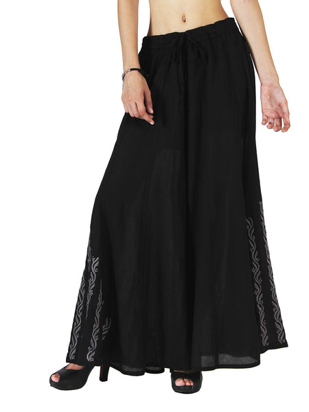 Chikankari Embroidered Fusion Palazzo Pants from Lucknow In Black - VD-APLUP30JY4