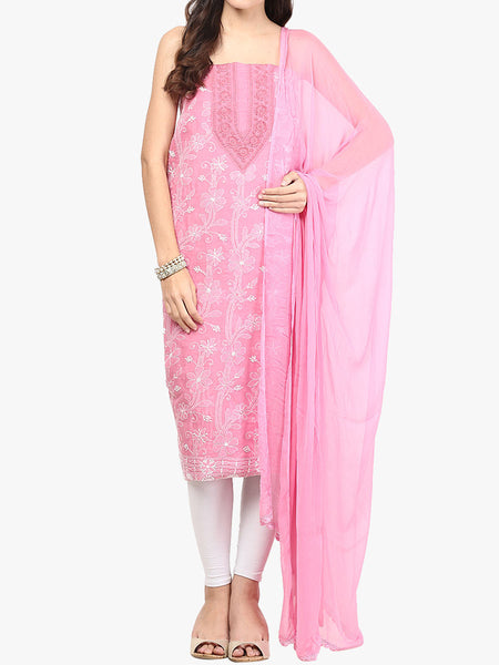 Pink Cotton Suit From Lucknow - SL-PLSU7JY51