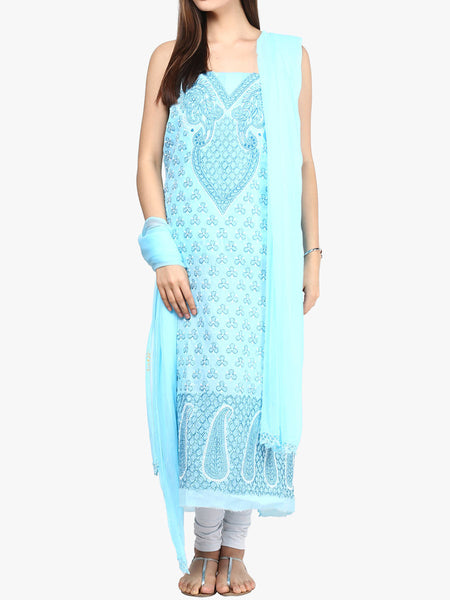 Dark Blue Cotton Suit From Lucknow - SL-PLSU7JY40