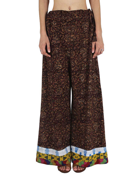 Hand Block Printed Palazzo Pants From Jaipur In Brown - PJRTPPB2JLY5