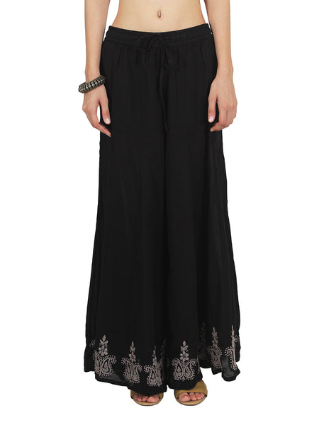 Chikankari Embroidered Fusion Palazzo Pants from Lucknow In Black - VD-APLUP30JY3