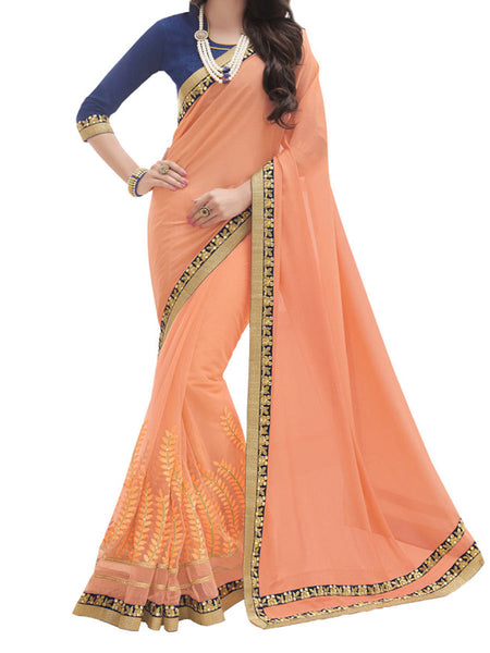 Chinon And Silk Orange Color Full Saree Saree - PWBSAI28JL5