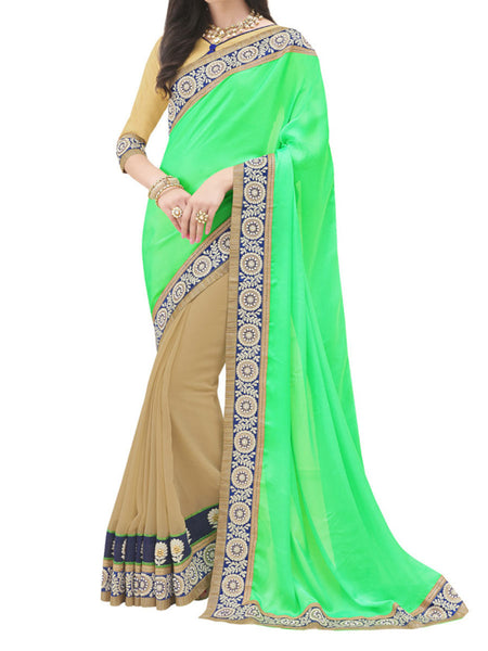 Satin Chiffon And Georgette Green And Beige Color Half-Half Saree - PWBSAI28JL6