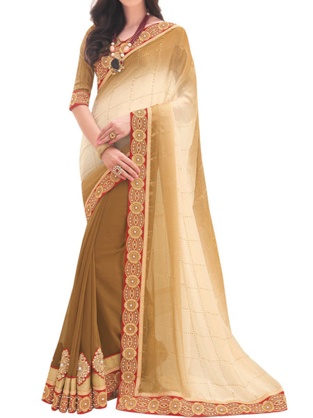 Satin Chiffon And Georgette Off White And Brown Color Half-Half Saree - PWBSAI28JL7