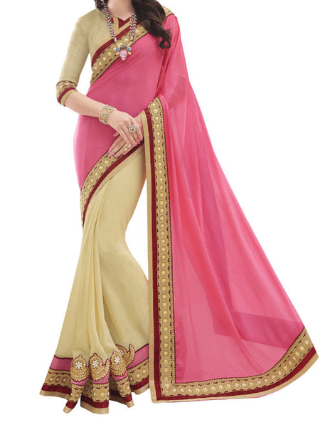 Chinon And Georgette Pink And Beige Color Half-Half Sarees - PWBSAI28JL10
