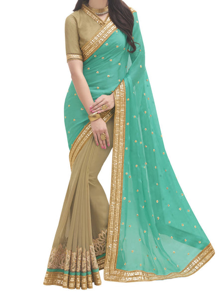 Satin Chiffon And Georgette Green And Beige Color Half-Half Saree - PWBSAI28JL21