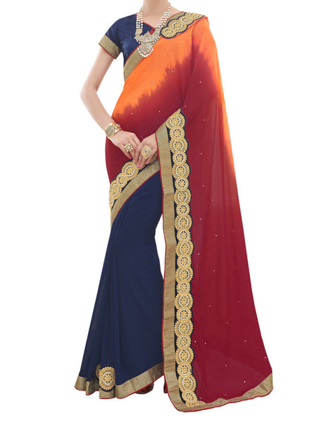 Chinon And Georgette Multi Color Half-Half Saree - PWBSAI28JL22