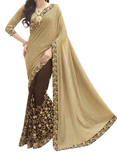 Knitted And Net Gold And Brown Color Half-Half Sarees - PWBSAI28JL23