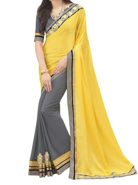 Chinon And Georgette Yellow And Grey Color Half-Half Saree - PWBSAI28JL25