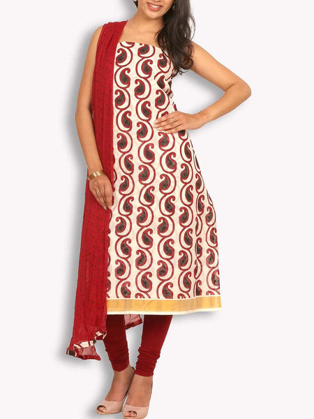 Off White & Maroon Chanderi Suit With Poth Work - KPLUS14JL2