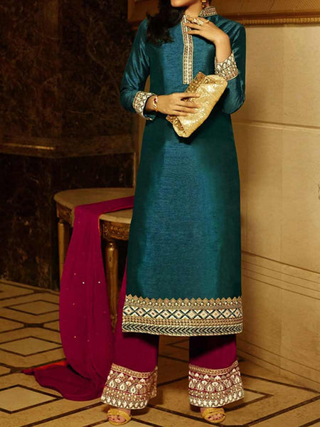 Silk Anarkali Suit From Surat In Teal Blue & Maroon - SPSS5AG3