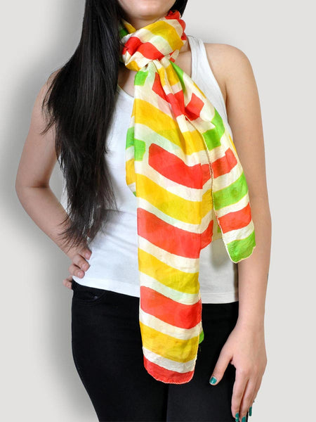 Multicolored Pure Silk Scarf - KS-CLST26AG1