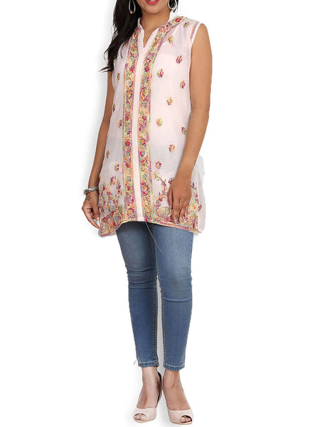 White Georgette Top With Resham Chikankari & Mukaish - KPLUK28MA11