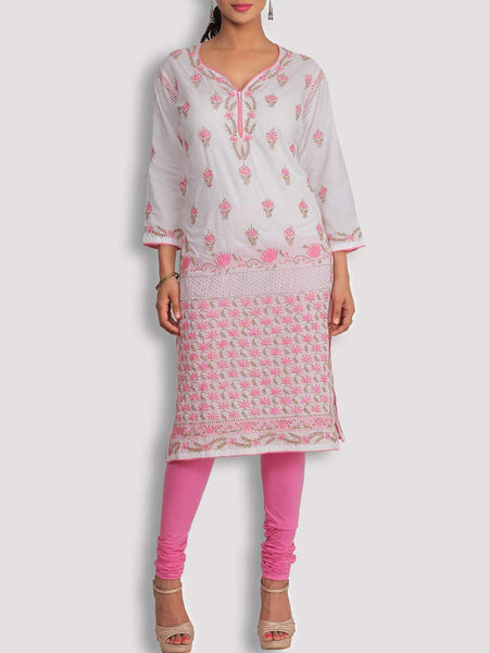 White Cotton Kurta With Chikankari & Mukaish - KPLUK28JL19