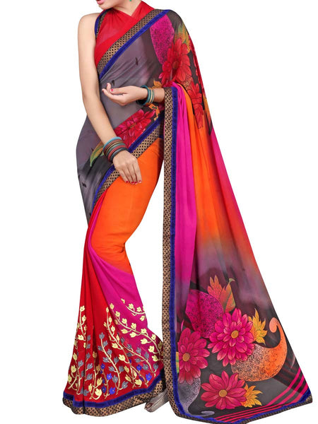 Georgette Embroidered Saree From Surat In Multicolour - DPASA8JL2