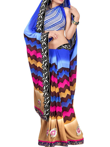 Georgette Embroidered Saree From Surat In Multicolour - DPASA8JL3
