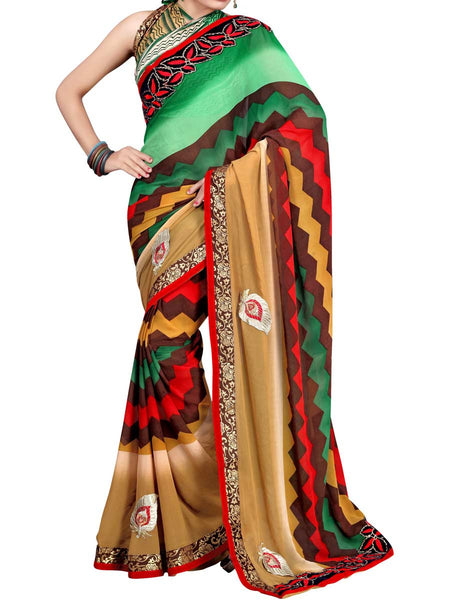 Georgette Embroidered Saree From Surat In Multicolour - DPASA8JL4
