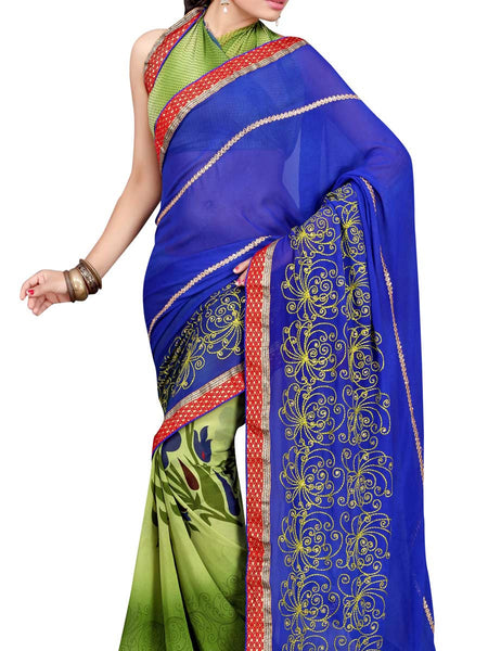 Georgette Embroidered Saree From Surat In Multicolour - DPASA8JL5