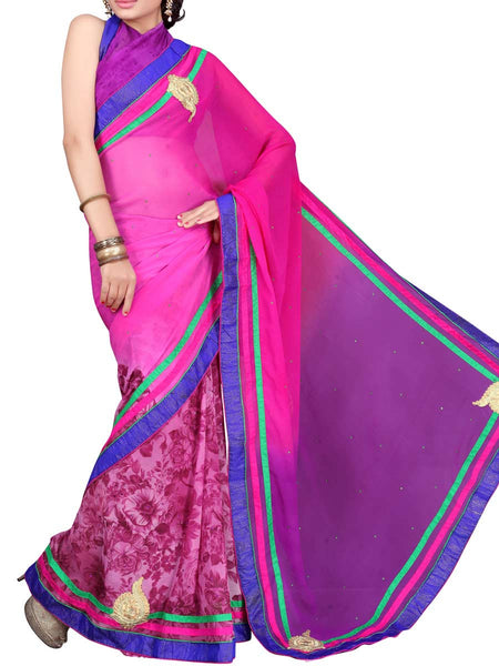 Georgette Embroidered Saree From Surat In Multicolour - DPASA8JL8