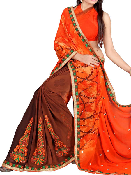 Georgette Embroidered Saree From Surat In Multicolour - DPASA8JL10