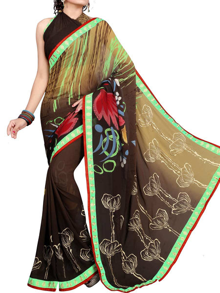 Georgette Embroidered Saree From Surat In Multicolour - DPASA8JL11
