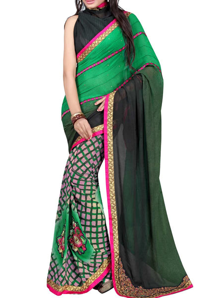 Georgette Embroidered Saree From Surat In Multicolour - DPASA8JL13