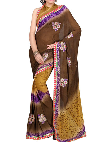 Georgette Embroidered Saree From Surat In Multicolour - DPASA8JL14