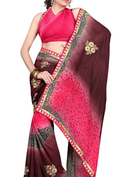 Georgette Embroidered Saree From Surat In Multicolour - DPASA8JL15