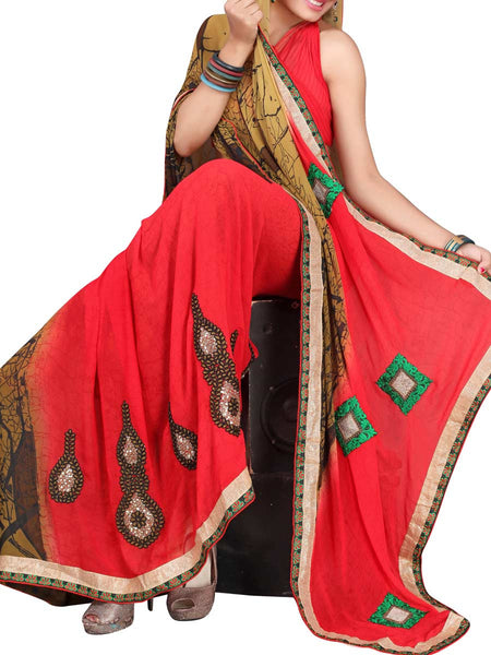 Georgette Embroidered Saree From Surat In Multicolour - DPASA8JL18