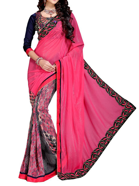 Georgette Embroidered Saree From Surat In Pink - DPASA8JL41