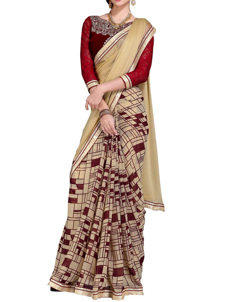 Georgette Embroidered Saree From Surat In Multicolour - DPASA8JL43