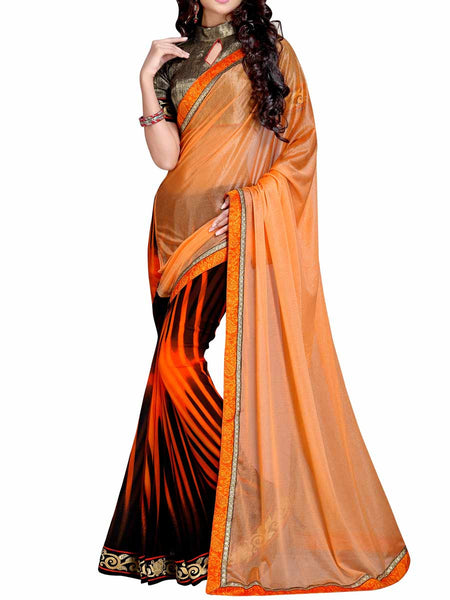 Georgette Embroidered Saree From Surat In Carrot Orange & Black - DPASA8JL45