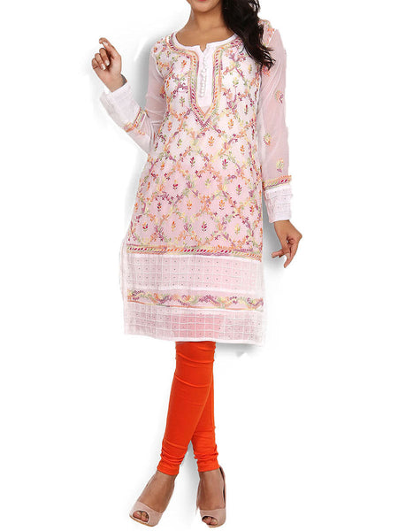 White Georgette Tunic With Chikankari & Mukaish Work - KPLUK28MA18