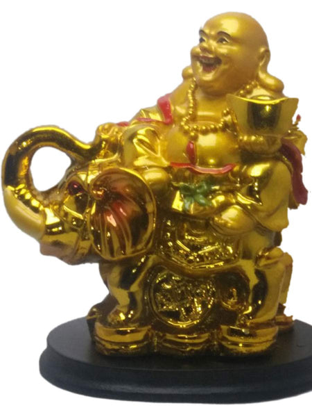 Laughing Buddha On Elephant In Golden - PCDH12JL25