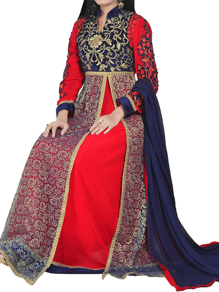 Red Color Anarkali Suit With Botton And Dupatta - ST-PKAS21JY11