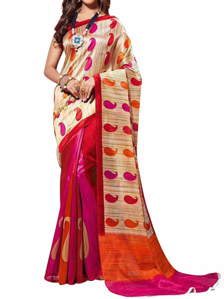 Cotton Silk Multi Color Saree With Cotton Silk Pink Blouse - PWBSAI28JL89