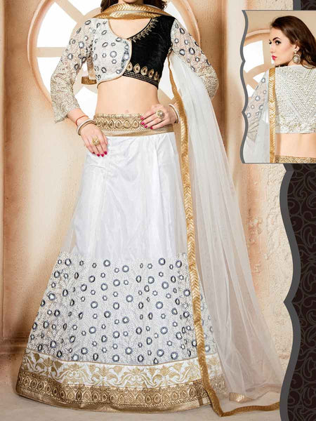 Embroidered Net Fabric Lehenga Choli from Surat In White - ST-PSL27AG2